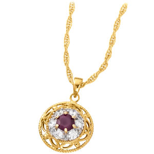 Two Toned Gold Plated Round Drop Pendant