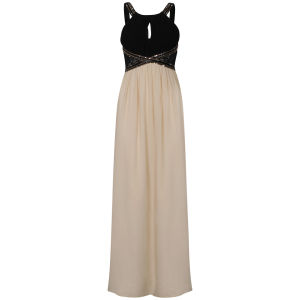 Little Mistress Lace Insert Embellished Maxi Prom Dress - Black/Cream