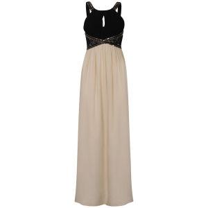 Little Mistress Lace Insert Embellished Maxi Prom Dress - Black/Cream