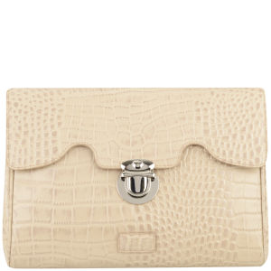 OSPREY LONDON Tango Croc Leather Clutch Bag - Cork