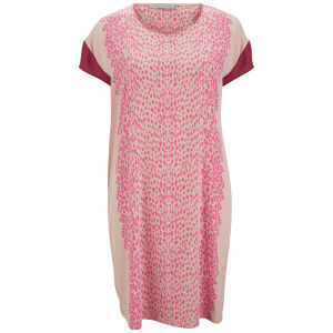 Custommade Women's Silk Print Dress - Pink Sand