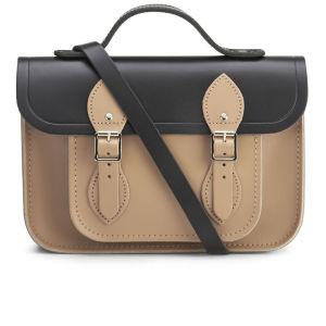 The Cambridge Satchel Company Women's 11 Inch Two Tone Satchel - Black/Biscuit