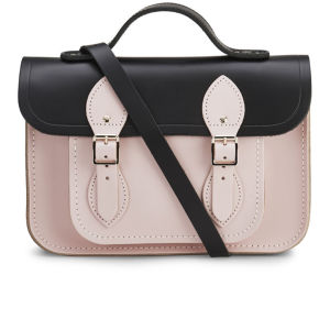 The Cambridge Satchel Company Women's 11 Inch Two Tone Satchel - Black/Peach Pink