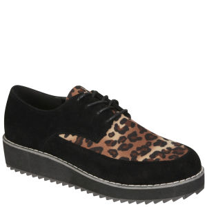 Odeon Women's Lace Up Leopard Print Creepers - Black