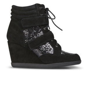 Carvela Women's Sparkle Suede Wedged Hi-Top Glitter Trainers - Black