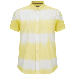 Brave Soul Men's 3 Stripe Tie Dye Shirt - Light Yellow