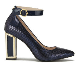 Kat Maconie Women's Priscilla Block Heeled Snake Metallic Leather Court Shoes - Navy