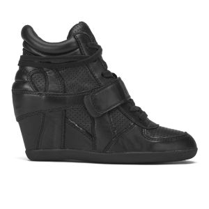 Ash Women's Bowie Ter Leather Hi-Top Wedged Trainers - Black
