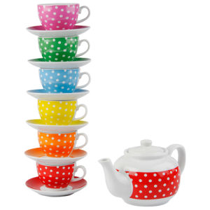 Ceramic Tea Set with Stand - Mini Dots