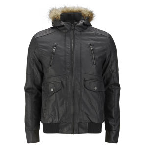Brave Soul Men's Ashburton Bomber Jacket - Black