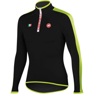 Castelli Spinta Long Sleeve Jersey - Black/Fluorescent Yellow