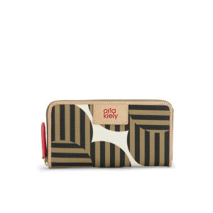 Orla Kiely Optical Flower Print Big Zip Wallet - Tortoise