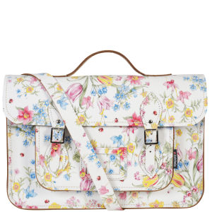 Zatchels 14.5 Inch Cracked Large Floral Leather Satchel with Handle - White