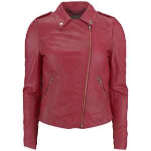 Muubaa Women's Carmona Leather Biker Jacket - Pomegranate