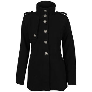 Brave Soul Women's Beaver Cavalry Coat - Black