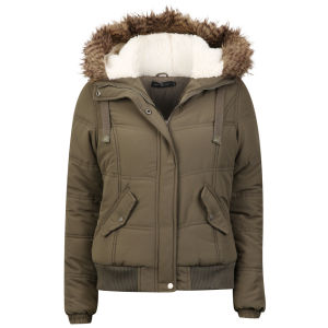 Arctic Story Women's Fur Trim Coat - Khaki