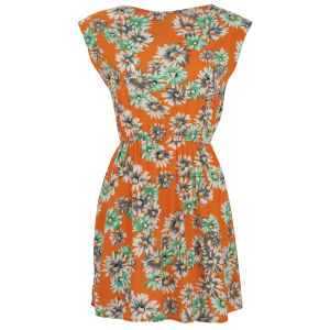 Madam Rage Women's Floral Zip Detail Dress - Orange