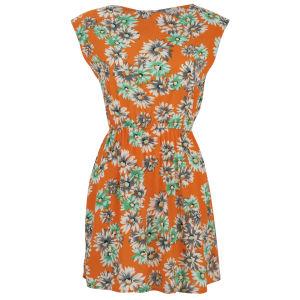 Madam Rage Women's Floral Zip Detail Dress - Orange