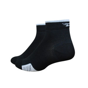 DeFeet Cyclismo 1 Inch Socks - Black with White Stripes