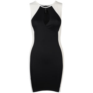 Influence Women's Bodycon Panel Monochrome Mini Dress - Black/White