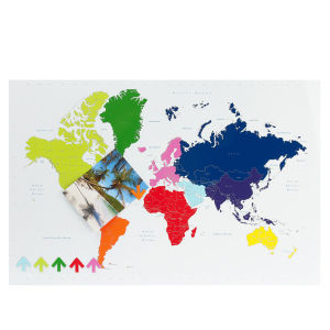 Present Time Multi Colour Magnetic World Map Memo Board
