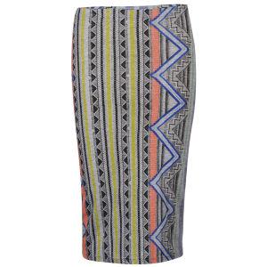 Glamorous Women's Midi Neon Aztec Print Skirt - Grey/Neon