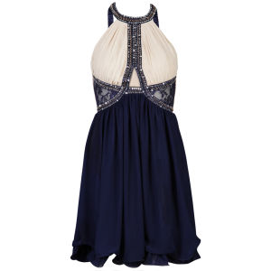 Little Mistress Women's Embellished Cutout Detail Prom Dress - Cream/Navy