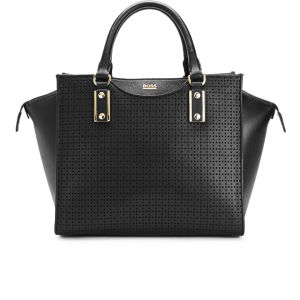 BOSS Black Maika-P Perforated Leather Wing Tote Bag - Black