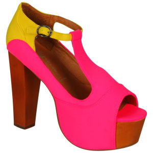 Jeffrey Campbell Women's Foxy Shoes - Neon Pink/Yellow