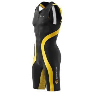 Skins Men's Tri400 Front Zip Sleevless Suit - Black/Yellow