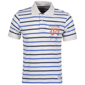 Jack & Jones Men's Tokyo Polo - White/Blue Striped