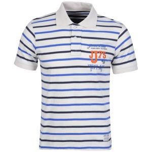 Jack & Jones Men's Tokyo Polo - White/Blue Striped