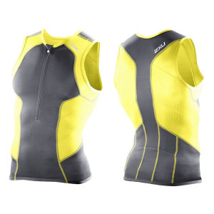 2XU Men's Perform Triathlon Singlet - Charcoal/Neon Yellow