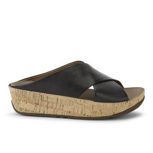 FitFlop Women's Kys Leather Slide Sandals - Black