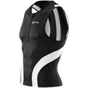 Skins Men's TRI400 Front Zip Sleeveless Top - Black/White