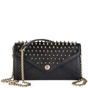 Rebecca Minkoff Leather Wallet on a Chain with Studs - Black