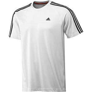 adidas Men's Essential 3 Stripe Crew Neck T-Shirt - White/Black