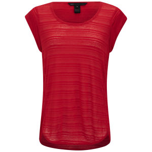 Marc by Marc Jacobs Women's Linen Burn Out Stripe T-Shirt - Red