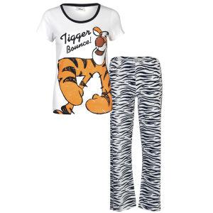 Winnie the Pooh Women Tigger Pyjama Set - White & Charcoal