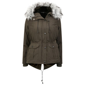 Arctic Story Women's Fur Trim Parka - Khaki