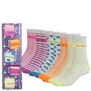 Miss Outrage Women's 5 Pack Socks Gift Set - Grey/Multi