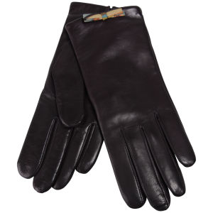 Paul Smith Accessories Women's Swirl Bow Leather Gloves - Brown