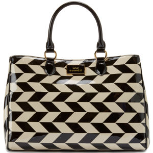 Lulu Guinness Amelia Chevron Printed Patent Leather Bag - Black/Stone