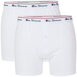 Ben Sherman Men's 2-Pack Cotton Boxer Shorts - White