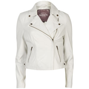 Barneys Women's Real Leather Biker Jacket - White