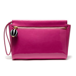 Lulu Guinness Katie Medium Patent Leather Wing Zip Clutch - Magenta