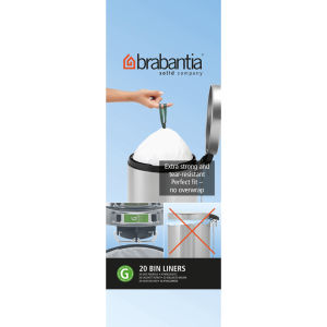Brabantia PerfectFit Bags 23-30 Litre [G], Rolls Pack of 20 Bags - White
