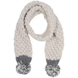 Women's Two Tone Bobble Knit Scarf - Charcoal & Stone