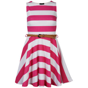 Club L Women's Striped Sleeveless Belted Skater Dress - Hot Pink/White