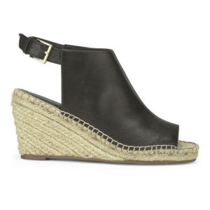 KG Kurt Geiger Women's Nelly Leather/Espadrille Wedged Sandals - Black